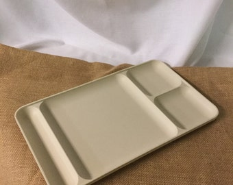 Divided Cafeteria Tray, Vintage Tupperware Tray, White Tupperware Plate, Compartment Tray,  Retro Lunch Room Tray