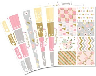 Gilded Full Planner Sticker Kit for use with ERIN CONDREN LIFEPLANNER™, Happy Planner, Travelers Notebook etc