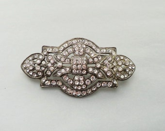 ART DECO Crystal Rhinestone Brooch Pot Metal Setting Perfect Bride Jewelry Vintage Edwardian