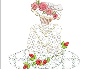 Southern belle machine embroidery download 4 diff sizes (3.4 x3.4  4x4  5x5  6x6)