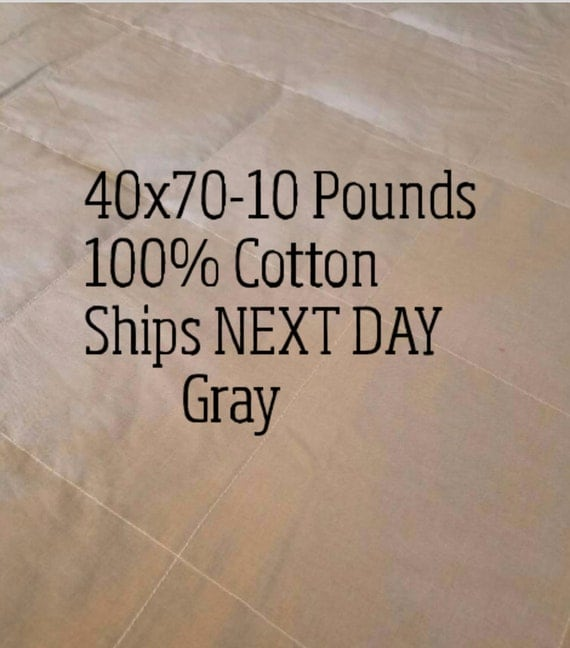 Weighted Blanket, 10 Pound, Gray, 40x70, READY TO SHIP, Twin Size, Adult Weighted Blanket, Next Business Day To Ship