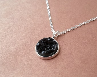 Dainty Black Druzy Pendant Crystal Necklace Boho Jewelry Silver Titanium Druzy Faux Gemstone Gift for her, bridesmaid, festivals!