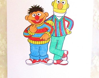 Ernie and Bert Card : Add a Greeting or Leave Blank