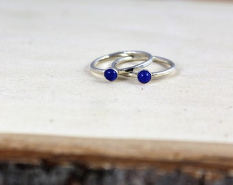 Blue Onyx Stacking rings, silver stacking ring,  Thin Stacking Rings, minimal jewelry,