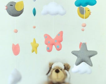 Baby crib mobile .  Nursery decor. Baby felt mobile. Personalized nursery. Nursery customs. Mobile birds stars clouds.