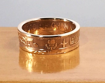 1920 China Republic 10 Cash Coin Ring