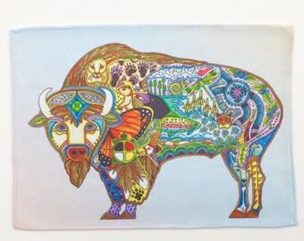 Microfiber Cloth Wipes Buffalo Animal Spirits by Sue Coccia Native American Art Microfiber for Glasses, Computer Screens Ipad, & Phones