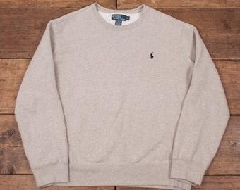 "Mens Vintage Polo Ralph Lauren Jumper Sweatshirt Grey XL 48"" R4982"