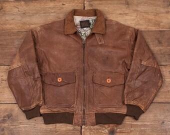 "Mens Vintage Avirex G1 US Army Flight Jacket Fur Collar Brown 44"" L R5453"
