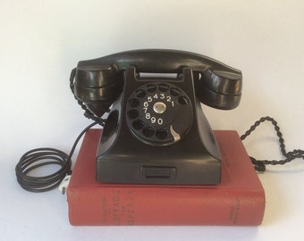 Vintage rotary phone. Black bakelite phone. Ericsson phone. Antique telephone. Black Dial phone Classic desk phone Mid century modern