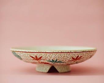 Vintage Speckled Ceramic Bowl   Catch-all   Serving Bowl   Vintage Serveware   Plant Stand   Hand Painted Floral Pattern