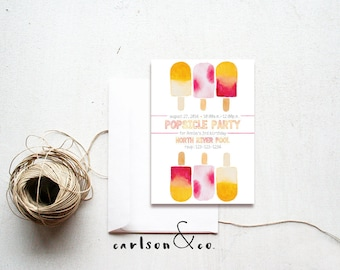 Popsicle Invitation | Popsicle Birthday Invitation | Pink Popsicles | Popsicle Party -- 5x7 Digital Printable
