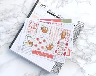 Sleepy Sloths ESSENTIALS Planner Sticker Kit (3 Sheets) - For Erin Condren Vertical