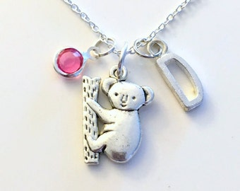 Koala Bear Necklace, Gift for Little Girl Boy Jewelry Climbing Zoo Animal Silver charm Initial Birthstone present Short Long Chain Sterling