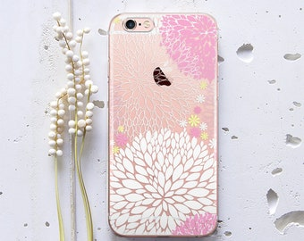 Clear Phone Case Floral iPhone 7 Case Flowers iPhone 7 Plus Case Silicone iPhone 5s Case for Samsung Galaxy S6 Edge iPhone 6s Plus WC192