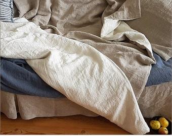 Reversible linen duvet cover - washed linen quilt cover, doona cover - Twin xl Queen California King duvet cover - custom linen bedding