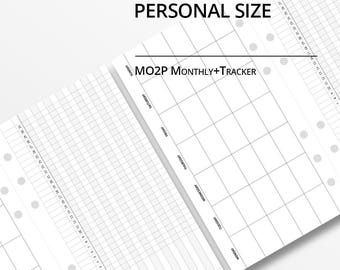Personal Size Month on Two Page Monthly Planner Insert/Monthly Tracker/Undated /Printable