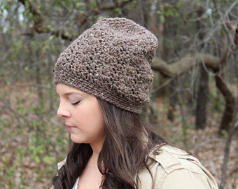 Slouchy Beanie, Crochet Slouchy Hat, Crochet Hat, Crochet Beanie, Womens Hat, Brown Winter Hat, Hipster Beanie, Brown Beanie, THE SIERRA