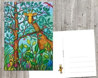 Giraffe - postcard giraffe and bunny card