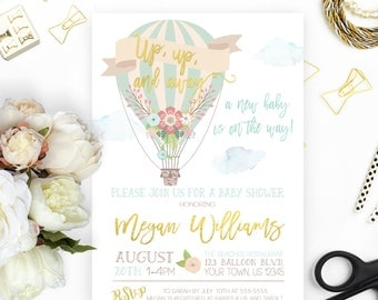 Hot Air Balloon Baby Shower Invitation, Up up and Away, Printable, Up and Away Shower Invitation, Gender Neutral, Gold, Mint, Baby Shower