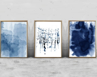 Navy Blue Wall Art navy blue wall art indigo printables nature art prints blue