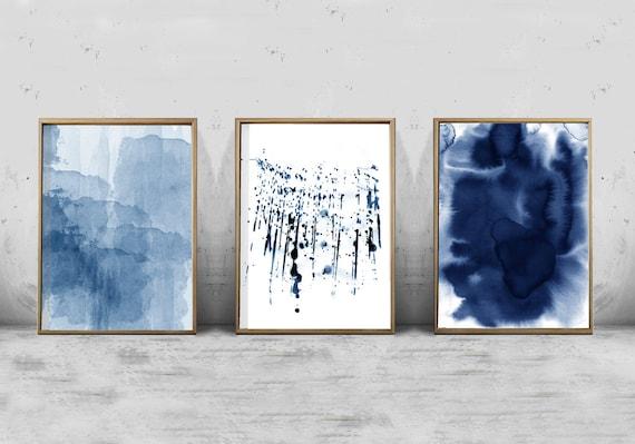 Beau Abstract Watercolor Set Minimalist Art Navy Blue Wall Art Indigo Paint  Splatter Brushstrokes Minimal Contemporary Art Modern Printable Art