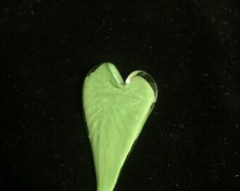 Green blown glass hearts
