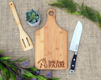 Horse Farm Custom Paddle Board, Personalized Paddle Board, Custom Cutting Board, Personalized Cutting Board, Farm Gift, Horse Gift, Laser