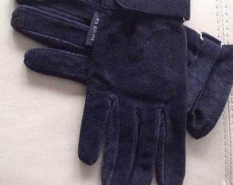 Gloves, Perrin, Blue Suede gloves, blue, leather,