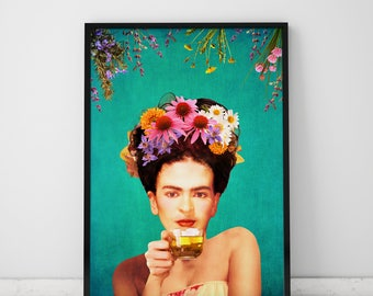 Frida Poster Herb Wall Art Frida Kahlo Poster Herb Print Frida Kahlo Print Herb Poster Frida Kahlo Wall Art Tea Poster Frida Art