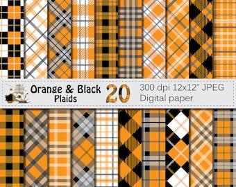 Orange and Black Plaids Digital Paper, Buffalo Plaid Lumberjack Check Digital papers, Black Orange Geometric Scrapbook paper, Download
