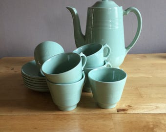 Vintage Beryl, Woods Ware Coffee Pot and Six Coffee Cups & Saucers - Made in England