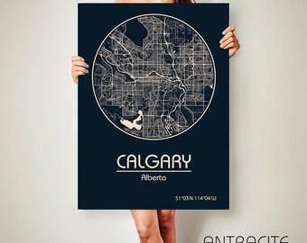 CALGARY Alberta Canada CANVAS Map Calgary Alberta Poster City Map Calgary Alberta Art Print Calgary poster Calgary map art Calgary map