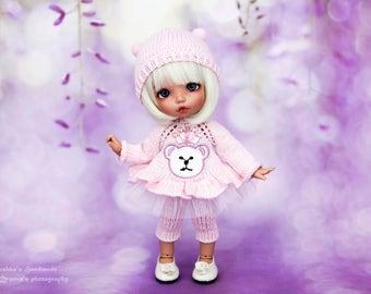 Bear outfit for Pukifee, Lati Yellow, Irrealdoll (dress, pants, bear hat)