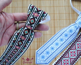 Gift for baby Tie for boy Gift for toddler Kids clothing cotton fabric ukrainian folk art cross stitch embroidered gift special occasions