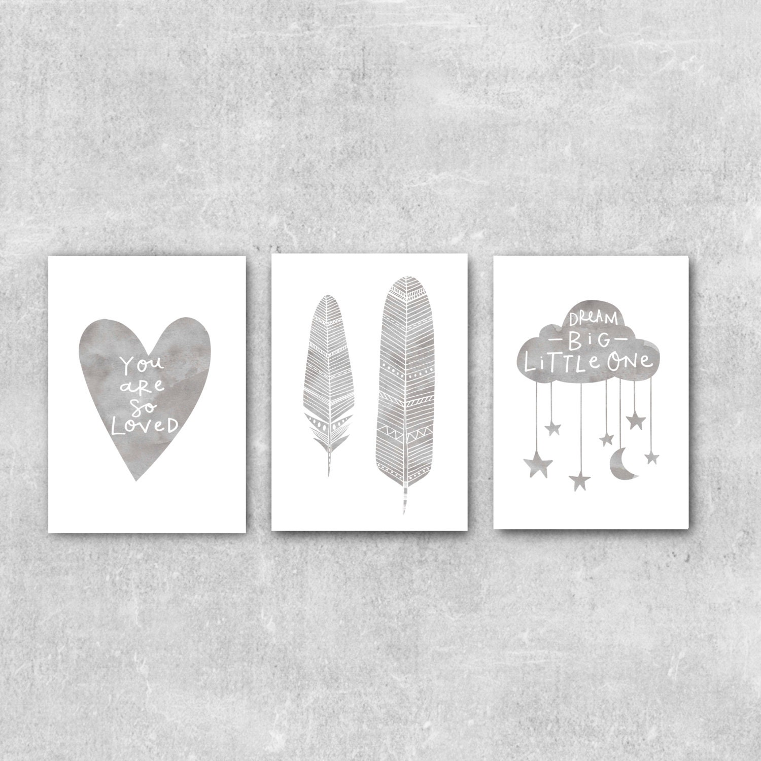 Nursery Wall Decor Set : Set of prints grey nursery wall art