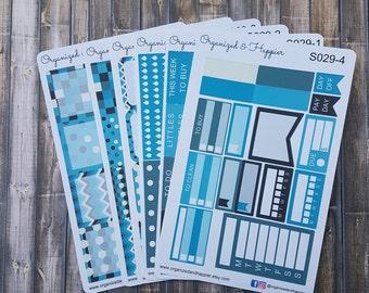 Weekly Personal Sticker Full Kit Erin Condren Planner headers boxes checklist tracker washi flags vertical matte paper #S029-Winter