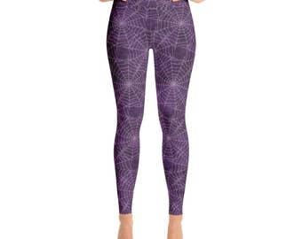 Spider Web Leggings - Halloween Leggings, Goth Leggings, Purple Yoga Pants, Printed Tights