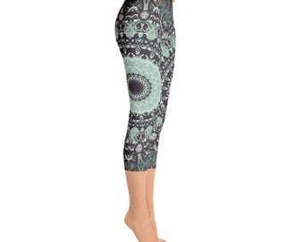 Capris - Mandala Yoga Pants, Dance Leggings, Burning Man Clothing Women, Hooping Clothes, Festival Leggings