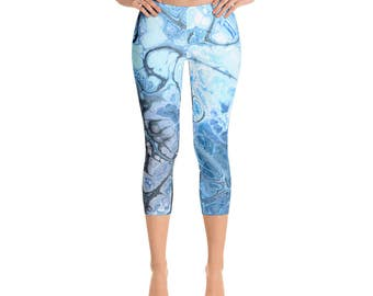 Flow Pants - Printed Leggings, Aqua Blue Yoga Capri Leggings