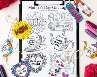 Mother's Day Gift Tags – 12 DIY printable gift tags to color and make for Mom / Mum | Printable PDF coloring template for adults and kids