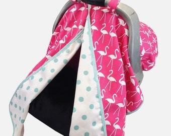 Hot Pink Flamingo Car Seat Tent