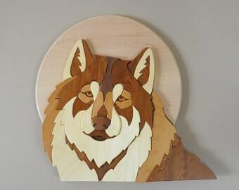 Handmade wooden wolf intarsia piece - woodland animals wall art - home decor - creative woodworking - gift for him - scroll saw art