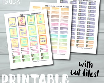 Pregnancy Planner Stickers - Printable Stickers - Pregnancy Tracker for Erin Condren and Others - With Cut Files!