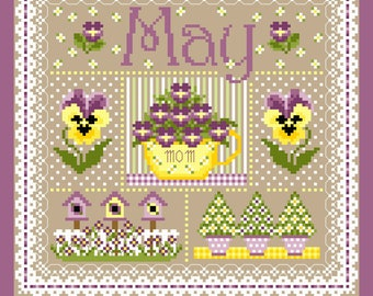 May Monthly Sampler Cross Stich Chart PDF