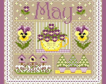 May Monthly Sampler Cross StiTch Chart PDF