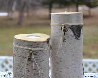 white birch log tealight candle holder