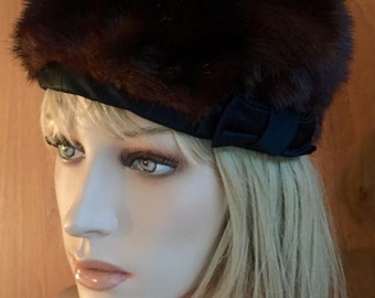 Brown real mink authentic fur hat, pillbox, ribbon, 50's, 60's vintage, chocolate, round, Russian, Parisian, I. Magnin and Co. winter