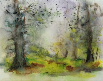 Original watercolor of an undergrowth, original painting of an undergrowth with moss on the ground, original watercolor of trees