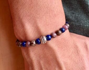 Man bracelet beads semi precious lapis lazuli bronzite 6mm / bracelet gemstone 6mm mix men / accessories man / lesptitskdo